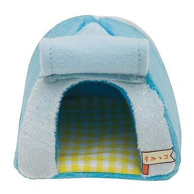 角落掌心沙包公仔的小家具。小帳篷。粉藍 San-X