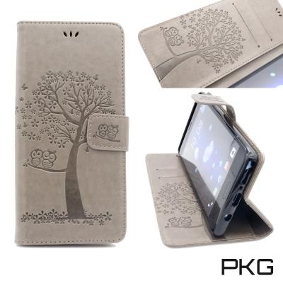 PKG Samsung Note8 側翻式皮套經典皮革系列-灰色貓頭鷹