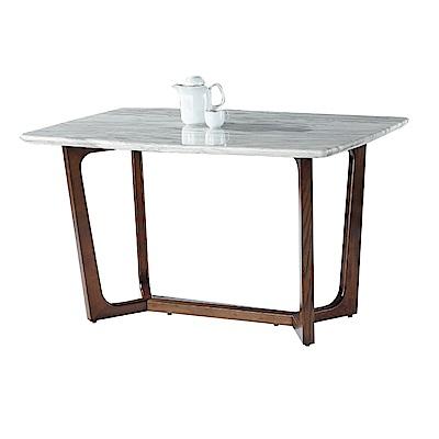 品家居 愛瑪4.7尺胡桃木紋實木石面餐桌-140x80x78cm免組
