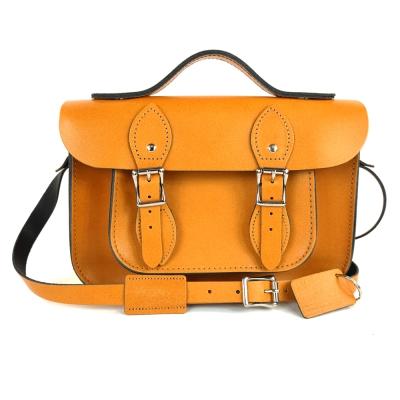 The Leather Satchel 英國手工牛皮劍橋包 肩背手提包 駝黃 11吋