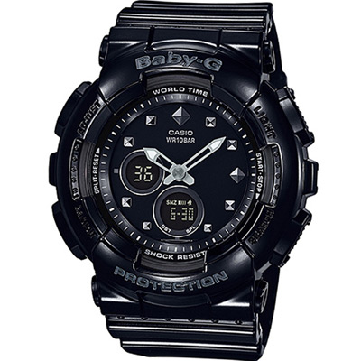 BABY-G 酷勁十足運動錶(BA- 125 - 1 A)-黑/ 43 . 4 mm