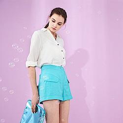 ICHE 衣哲  清新薄荷藍造型剪接闊腿時尚短褲-藍