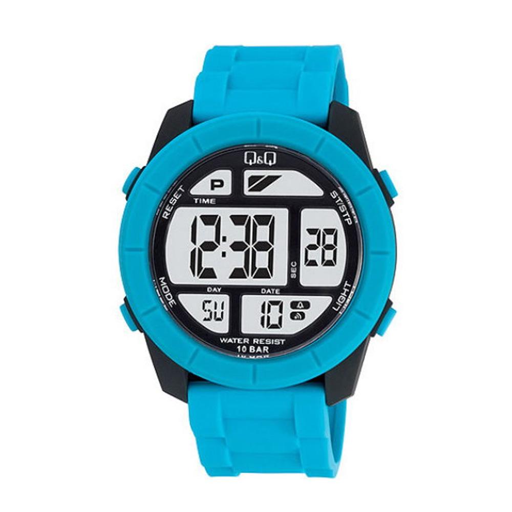 Q&Q 彩色潮流大鏡面多功能電子錶-水藍/47mm