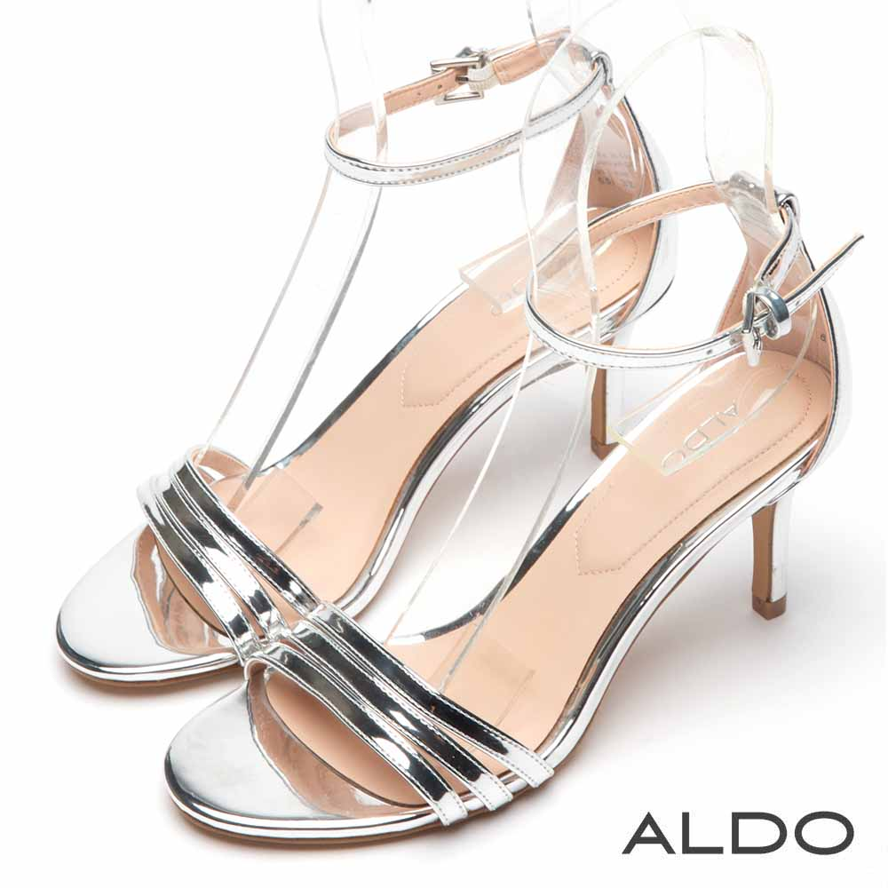 ALDO 原色幾何金屬釦帶繫踝魚口露趾細高跟涼鞋~名媛銀色