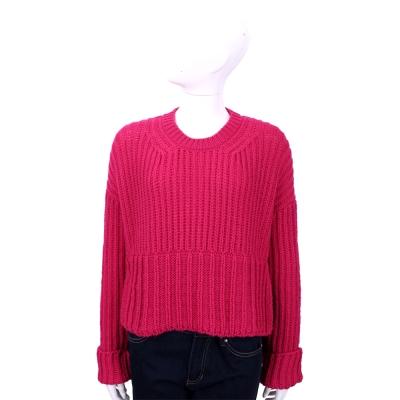 Max Mara-SPORTMAX 莓紅色羊毛粗針織長袖上衣(63%LANA)
