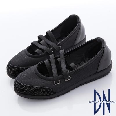 DN 優雅柔軟 鑽面妝點芭蕾舞包鞋-黑