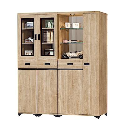 品家居  曼達5.3尺橡木紋雙面多功能鞋櫃/玄關櫃-158.4x39.7x189cm免組