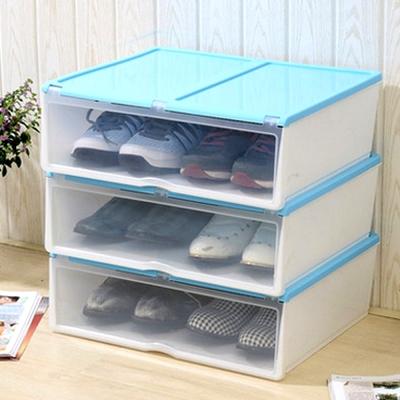 美樂麗 加長款 掀蓋式多功能收納盒 - 淺藍 *3入