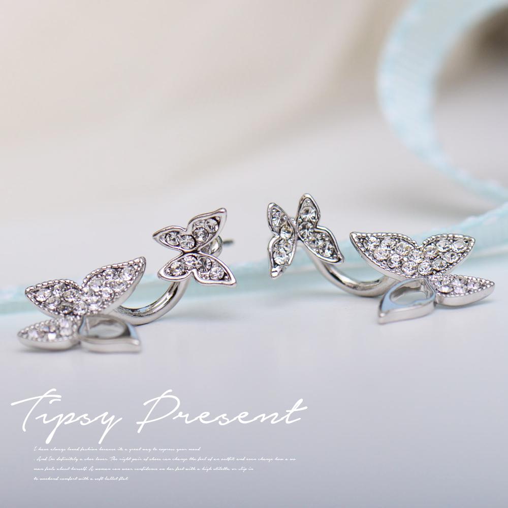微醺禮物 水鑽 鍍白金 兩用蝴蝶 耳環