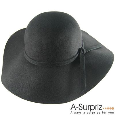 A-Surpriz  氣質佳人蝴蝶結純羊毛大簷帽(奢華黑)