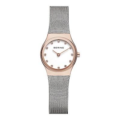 BERING丹麥精品手錶 晶鑽刻度米蘭帶系列 銀x玫瑰金 小錶面24mm