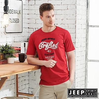 JEEP 美式LOGO立體浮雕短袖TEE-紅
