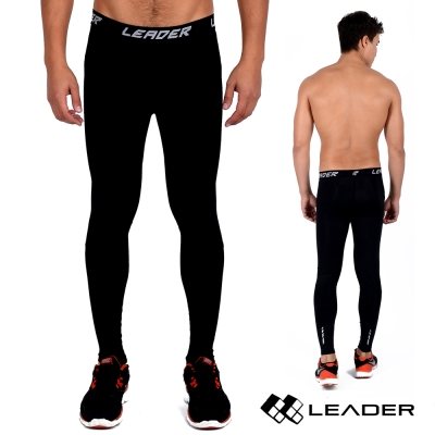 LEADER X-PRO梯度壓縮運動緊身褲男款黑底黑線