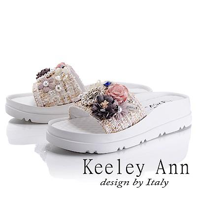 Keeley Ann 氣質甜美~華麗森林風珍珠點綴拖鞋(白色-Asin系列)