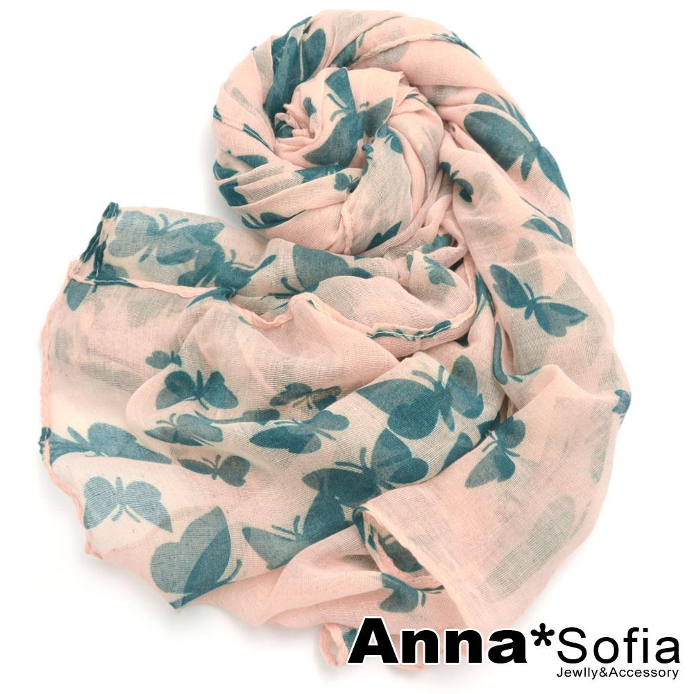 AnnaSofia 蝶舞飛揚 加大加寬圍巾(淺粉底)