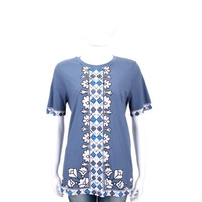 TORY BURCH 灰藍色花朵圖印設計短袖上衣