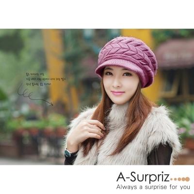 A-Surpriz-柔美佳人編織毛線貝雷帽-浪漫紫
