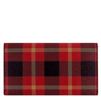 COACH 紅色格紋PVC五卡中夾