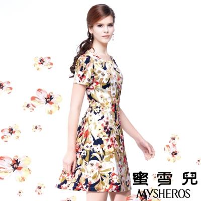 蜜雪兒mysheros-時尚優雅修身印花洋裝