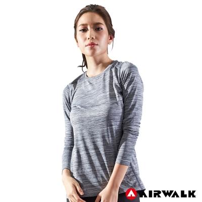 【AIRWALK】女款吸濕排汗長T-麻灰色