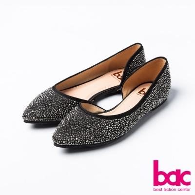 bac名媛珠光珠光點點柔和半月尖頭平底鞋黑