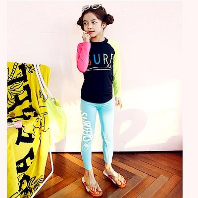 Biki比基尼妮泳衣   彩虹長袖泳衣兒童泳衣小朋友(M- 4 XL)