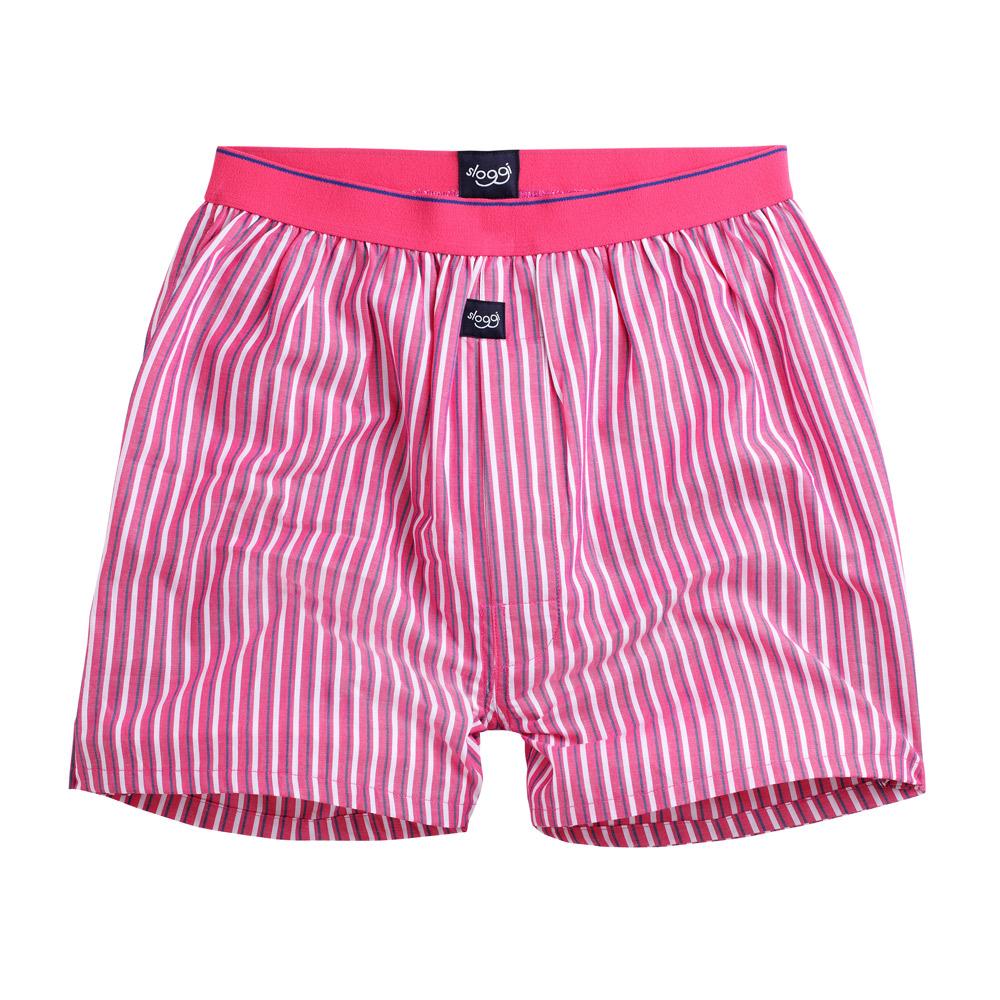 sloggi Men-寬鬆平織系列條紋平口內褲 M-XL(粉)