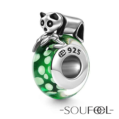 SOUFEEL索菲爾 925純銀珠飾 熊貓寶寶 琉璃珠