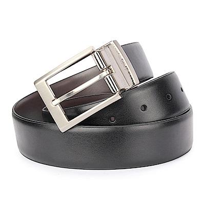 Calvin Klein 質感金屬LOGO穿式皮帶-黑色
