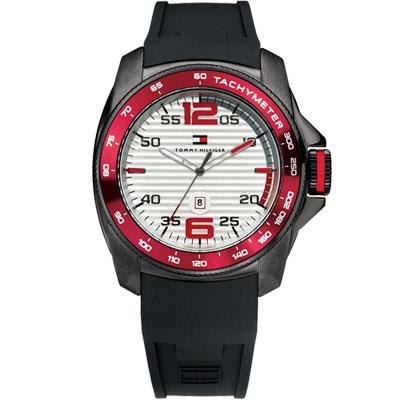 TOMMY HILFIGER 霸氣大錶冠腕錶-紅黑/46mm