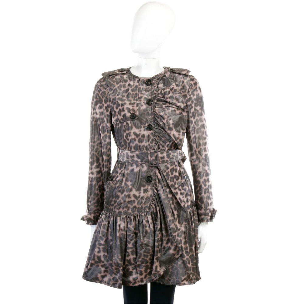 MOSCHINO 黑咖色抓褶設計豹紋風衣外套(附腰帶)