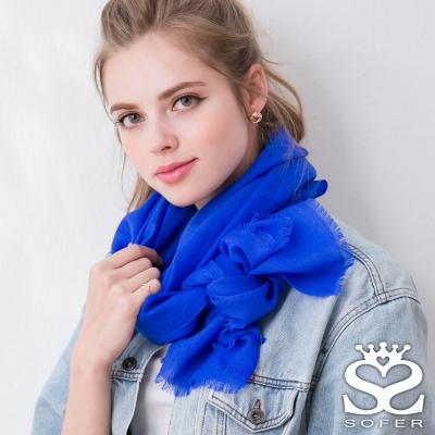 SOFER 經典素色100%羊毛保暖披肩/圍巾 - 深海藍