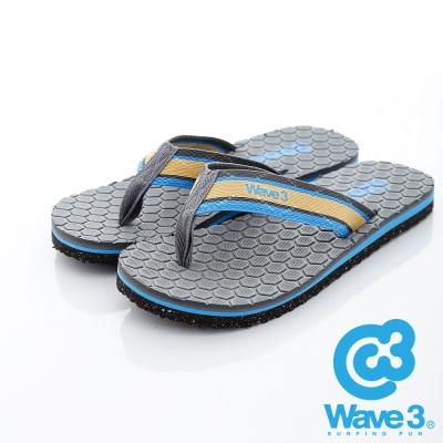 WAVE3【男】台灣製 潛水衣面料/菱格紋瑜珈墊人字夾腳拖鞋~灰
