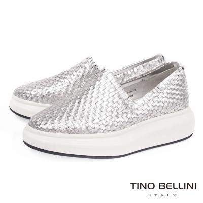Tino Bellini 品味潮流編織厚底休閒鞋_銀
