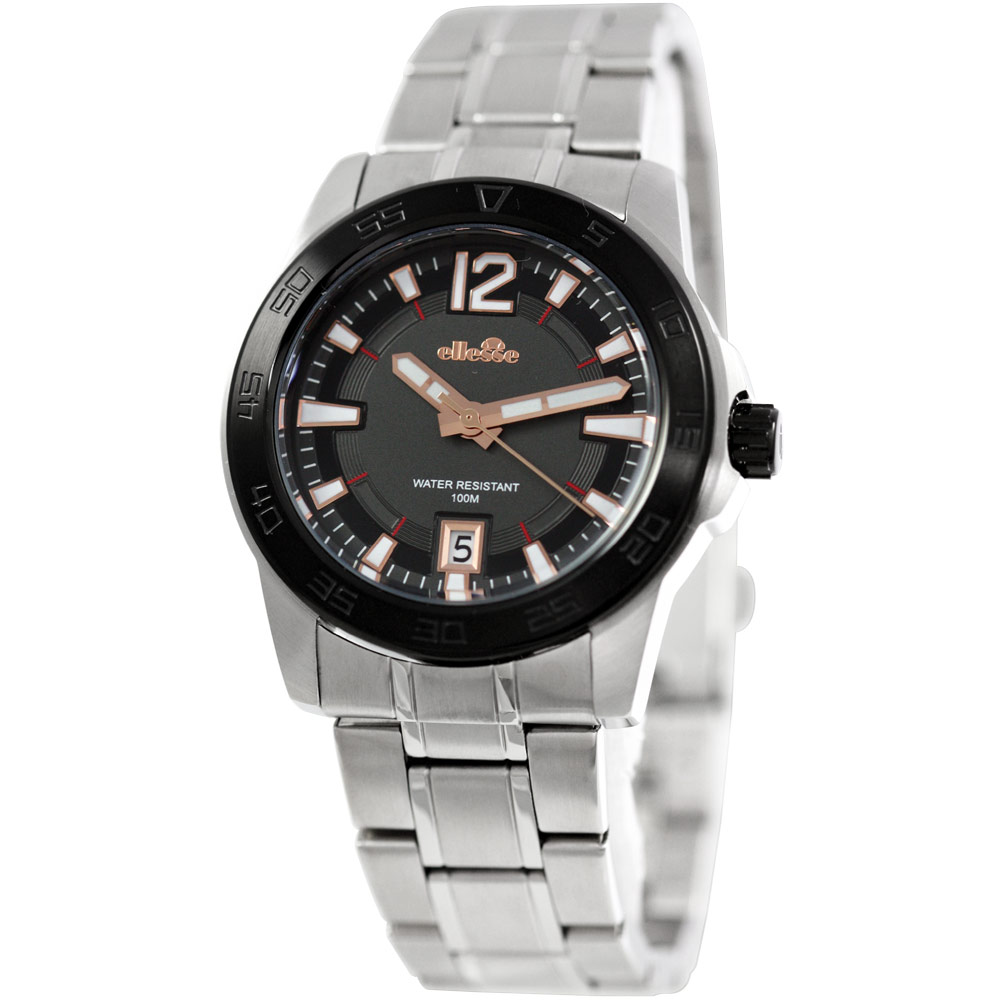 ellesse 都會城市型男時尚腕錶-黑/42mm