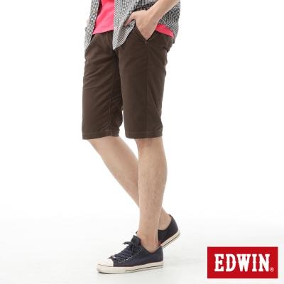 EDWIN-503-KHAKI-3D剪裁素面休閒短褲-男款-咖啡