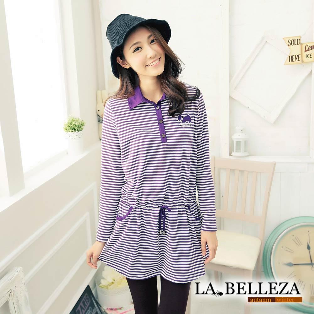 La Belleza小狗貼布腰抽繩條紋棉洋裝
