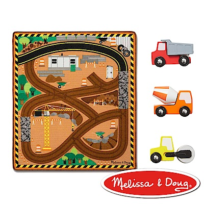 美國瑪莉莎Melissa Doug交通遊戲建築工程環繞道路地墊組