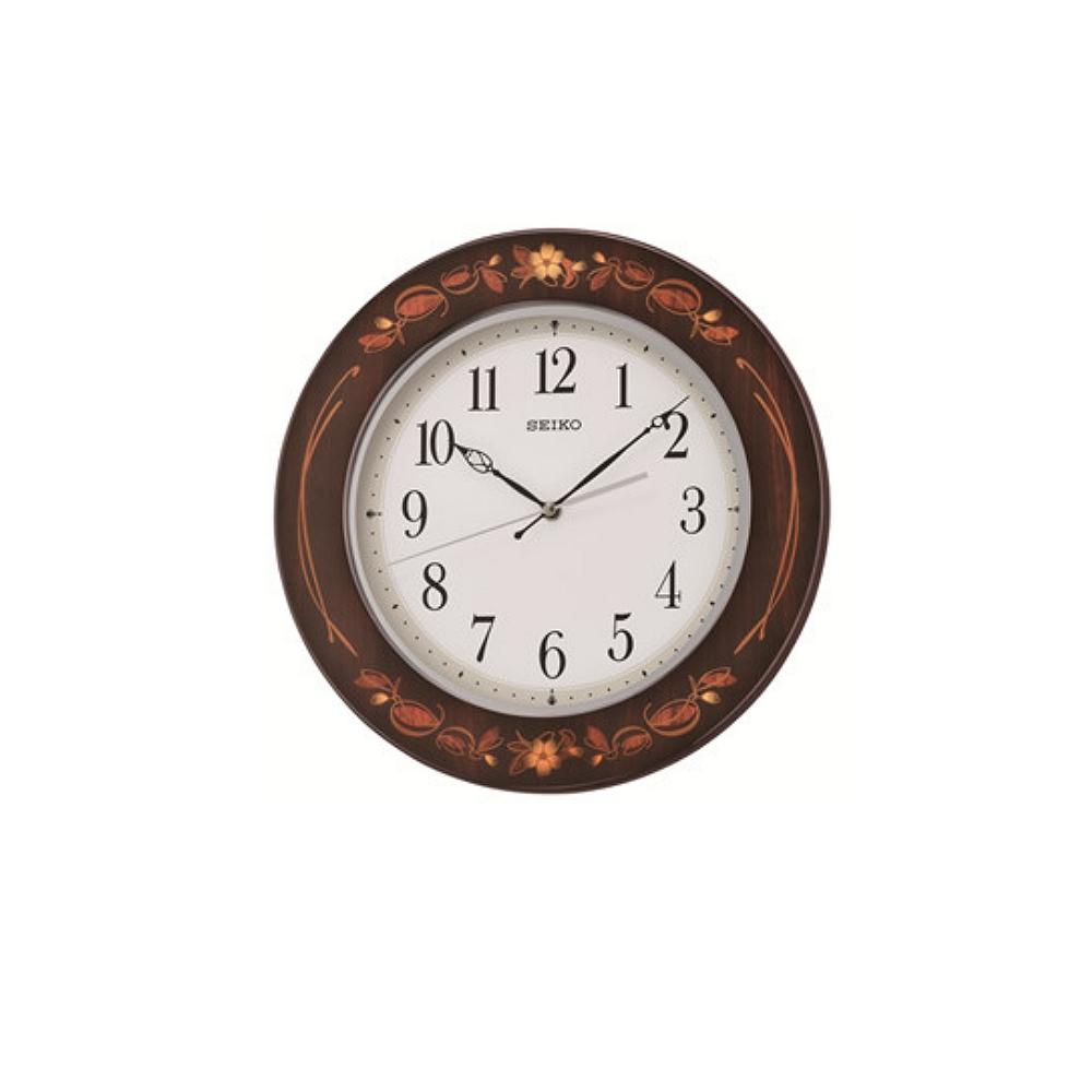 SEIKO 精工 木質外殼鋼琴烤漆 滑動式秒針-白x咖啡框/33cm