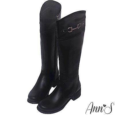 Ann'S視覺顯瘦斜切口銀灰扣長靴-黑