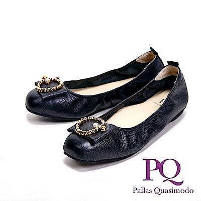 PQ MIT珍珠O飾造型方頭娃娃 女鞋-黑(另有灰)