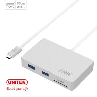 UNITEK 優越者USB3.1Type-c轉USB3.0HUB+讀卡機