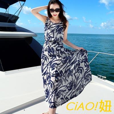 地中海印象風背心雪紡洋裝 (藍色)-CiAO妞