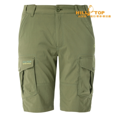 【hilltop山頂鳥】男款超潑水抗UV彈性短褲S09M64葡葉綠