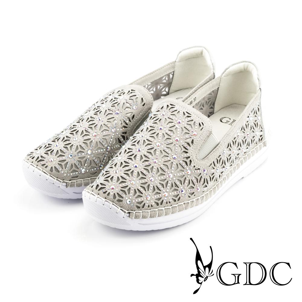 GDC-三角水鑽縷空網裡懶人休閒鞋-銀色