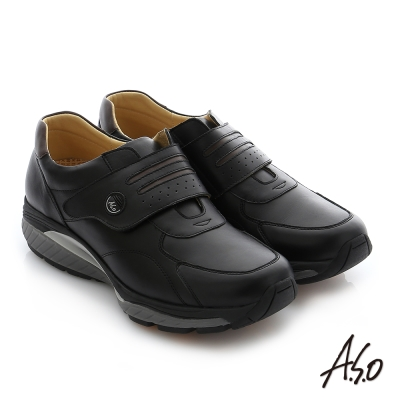 A.S.O 輕量抗震 真皮魔鬼氈奈米休閒鞋 黑色