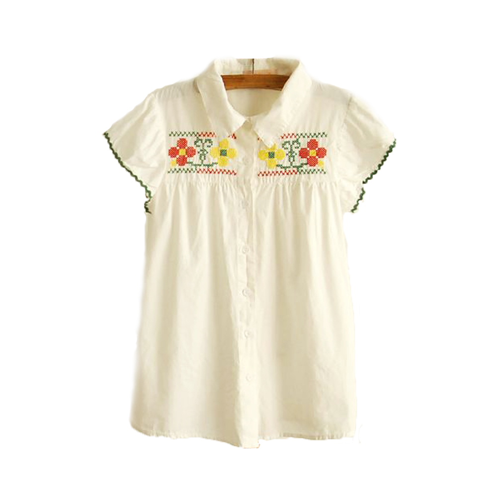 【Love20 東京館】現貨 復古韻味‧彩虹刺繡短袖襯衫(米白)