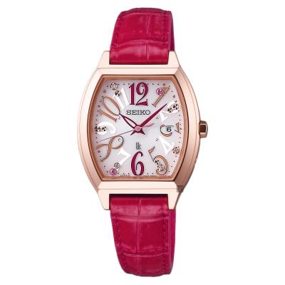 SEIKO精工 LUKIA 限量太陽能電波女錶(SSVW096J)-銀x紅色錶帶/27mm