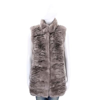 Manzoni 24 灰色動物紋兔毛背心外套