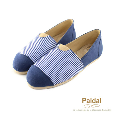 Paidal 海洋水手風橫紋樂福鞋懶人鞋-藍